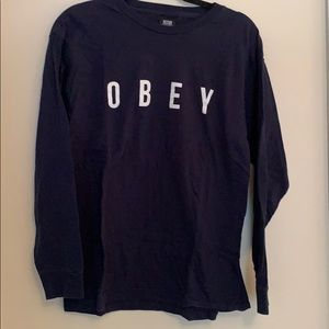 Navy Obey long sleeve t-shirt